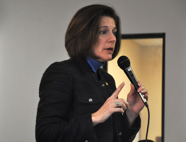 Buford Davis/Las Vegas Business Press Newly elected U.S. Sen. Catherine Cortez Masto addresses constituents on the benefits of a green energy economy during a Feb. 23 round table discussion.