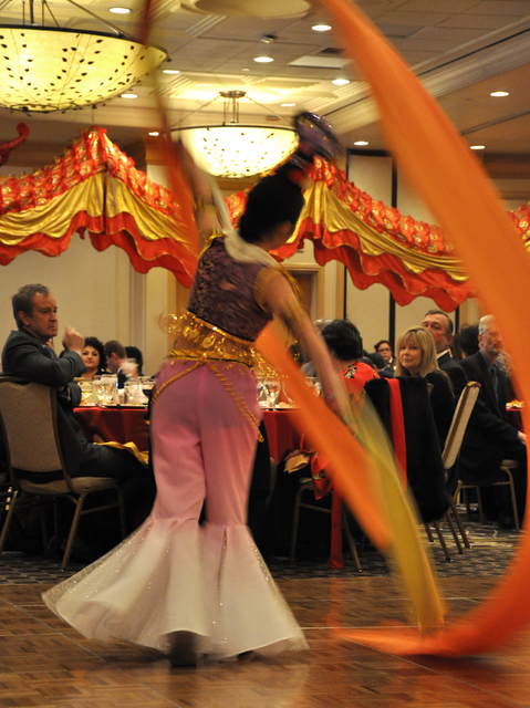 "A dancer of ""Cai Dai Wu Dao"" - the Chinese ribbon dance - performs at the Las Vegas Asian Chamber of Commerce Chinese New Year Gala and Community Achievement Awards at the Gold Coast Casino, Feb.  ..."