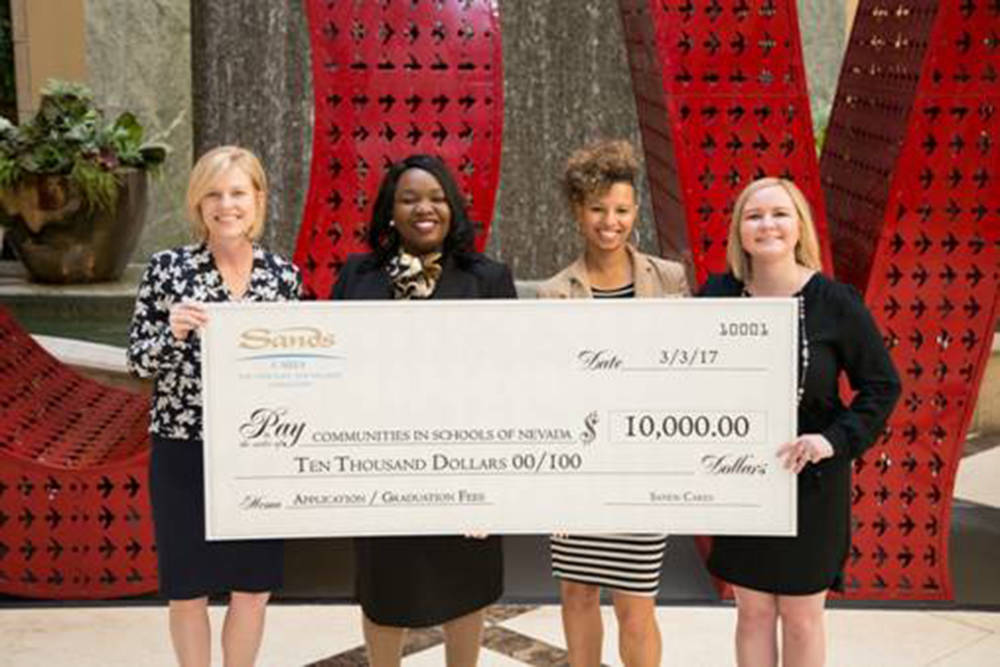 Sands Cares, the charitable branch of Las Vegas Sands Corp., donated $10,000 to Communities in Schools of Nevada March 3, at the Venetian. (L-R) Anna Schmid, Dr. Tiffany Tyler, Brittany McCoy and  ...
