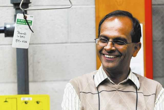 College of Engineering Dean Rama Venkat talks in a lab at the Thomas Beam Engineering Complex on the campus of the University of Nevada, Las Vegas on Monday, March 24, 2014. UNLV is slated to laun ...