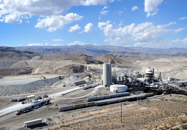An aerial view of the Georgia-Pacific Gypsum mine, north of Las Vegas along Interstate 15, is seen on Tuesday, Sept. 9, 2014. (David Becker/Las Vegas Review-Journal)