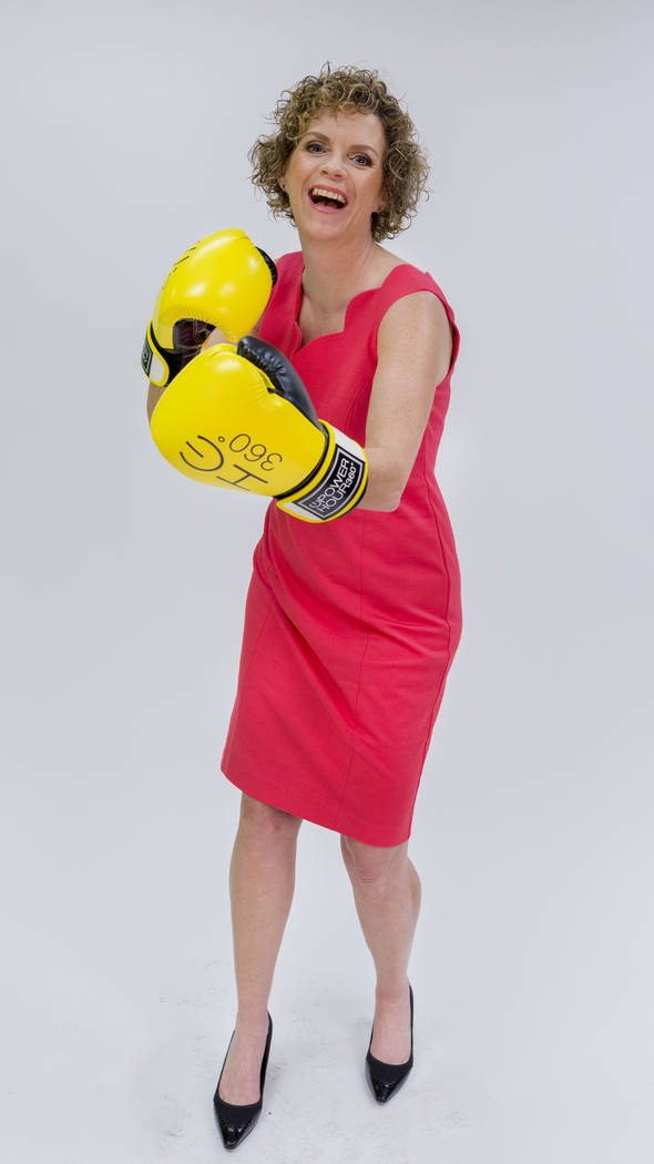 Darcy Neighbors, CEO of CIM Marketing Partners, throws boxing punches in the Las Vegas Review-Journal studio, Las Vegas, Feb. 22, 2017. Neighbors enjoys spending her free time in the gym doing mul ...