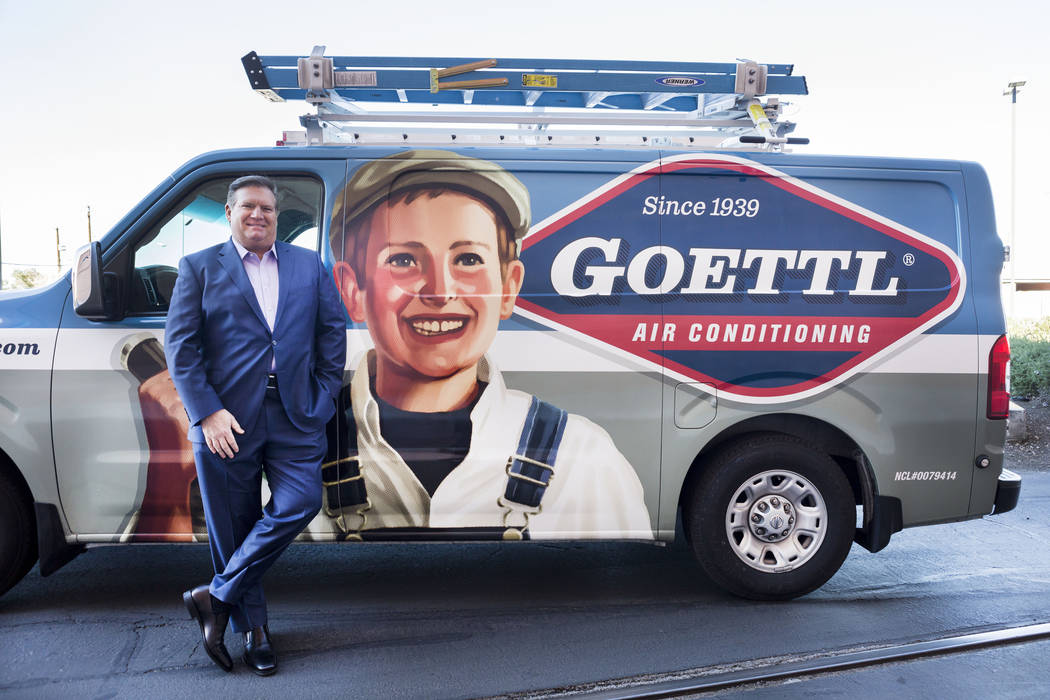 Goettl Air Conditioning owner Ken Goodrich stands next to his company's signature van outside of the Las Vegas Review-Journal photo studio, Las Vegas, Tuesday, Feb. 28, 2017.  (Elizabeth Brumley/L ...