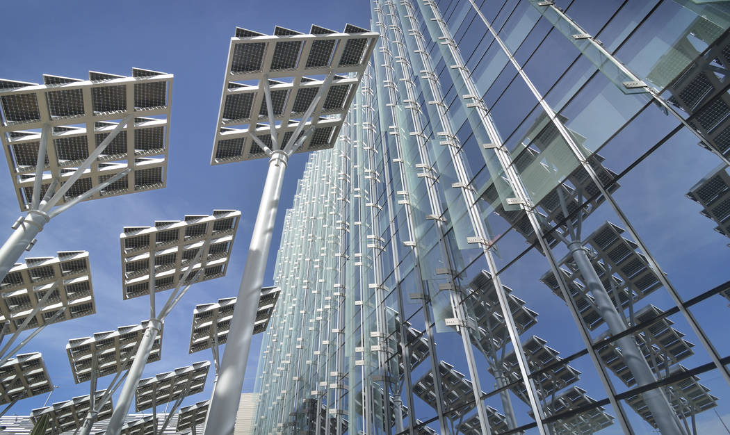A solar panel array is shown in front of Las Vegas City Hall at 495 S. Main St. on Sunday, March 12, 2017. (Bill Hughes/Las Vegas Business Press)