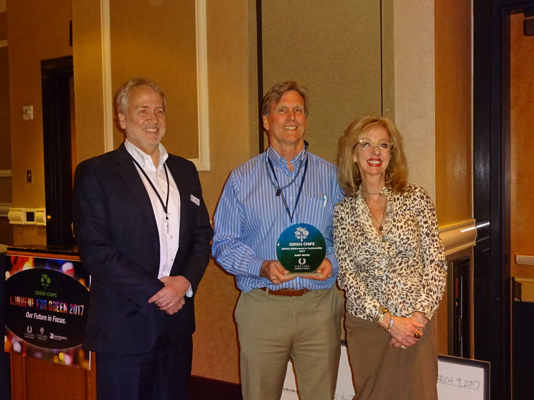 Craig Ruark/Las Vegas Business Press Green Chips founding members Tom Perrigo and Jan Jones Blackhurst and present the Lifetime Achievement in Sustainability Award to Gary Wood,center, Green Chips ...