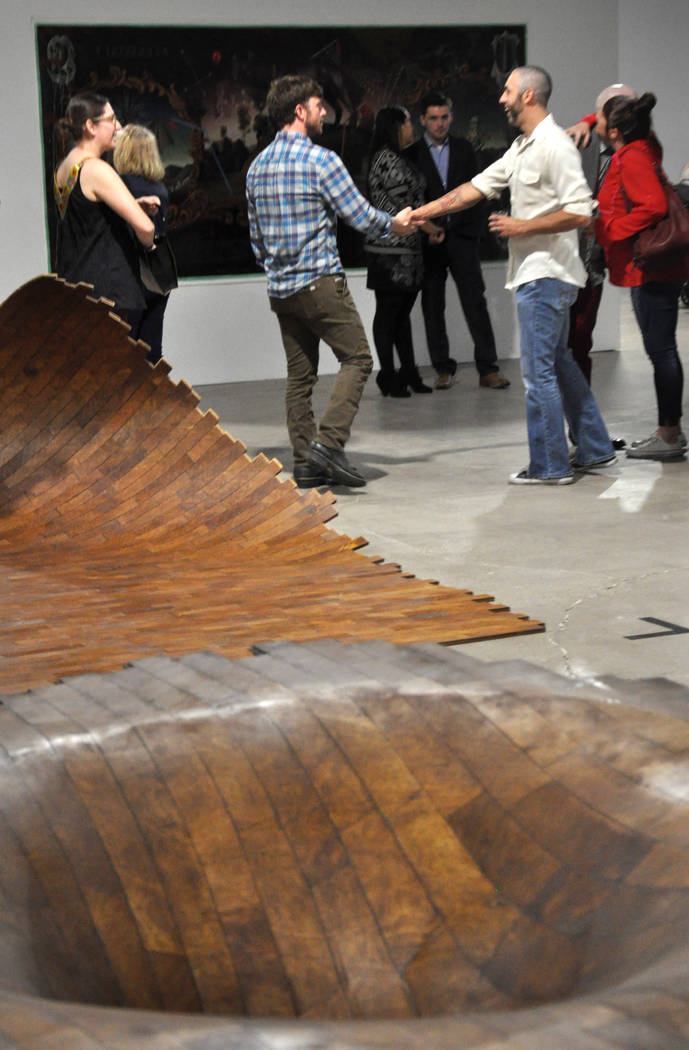 Works (foreground) by artist Brent Sommerhauser are featured at Tilting the Basin, a 10-week exhibit presented by the Nevada Museum of Art and Art Museum at Symphony Park. The show opened Mar. 16  ...