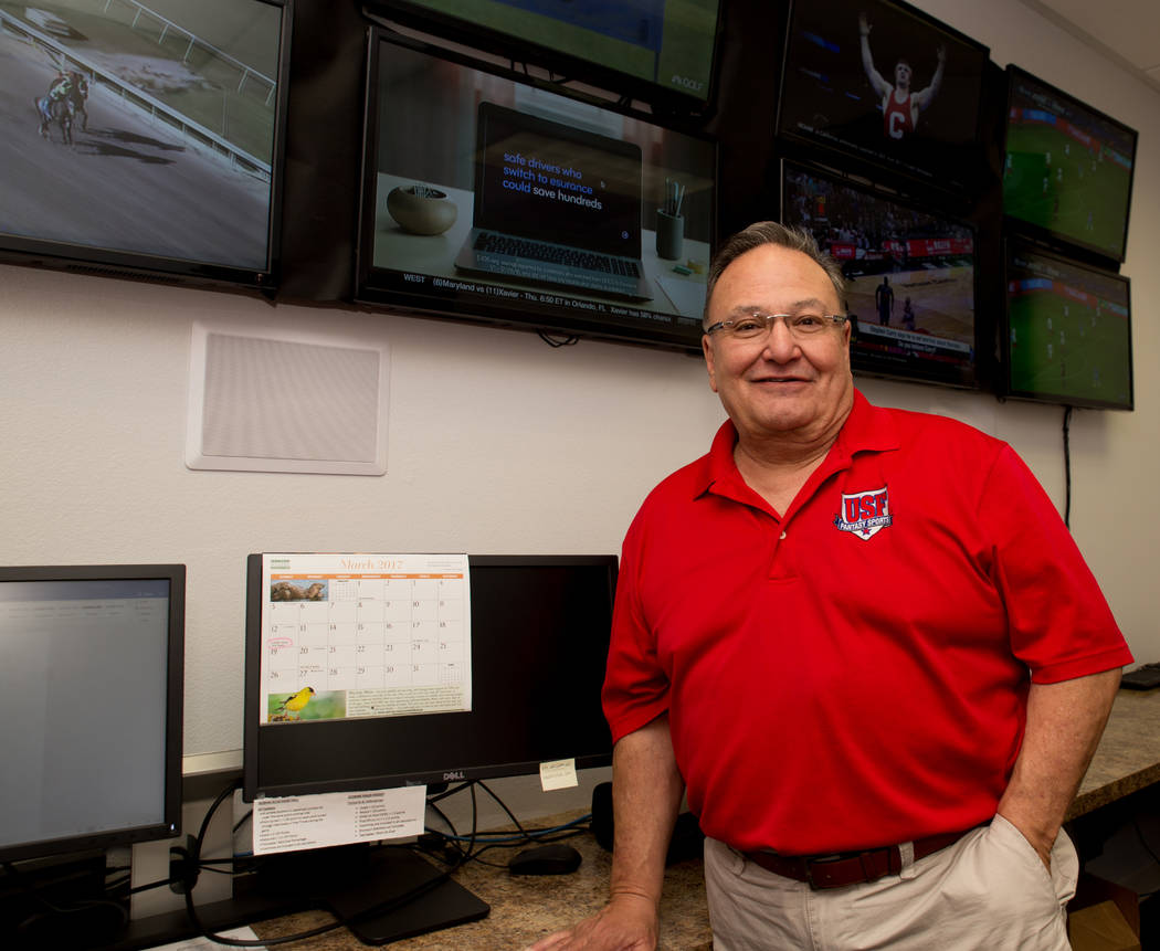 "Vic Salerno, president of USFantasy Sports, stands for a photo on March 16, 2017 inside the ""war room"" at USFantasy's headquarters, where staff sets odds and and keeps track of contests from."