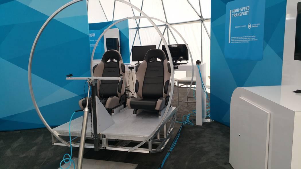 Hyperloop passenger pod concept model developed by Carnegie Mellon University research team. (STAN HANEL/LAS VEGAS BUSINESS PRESS)