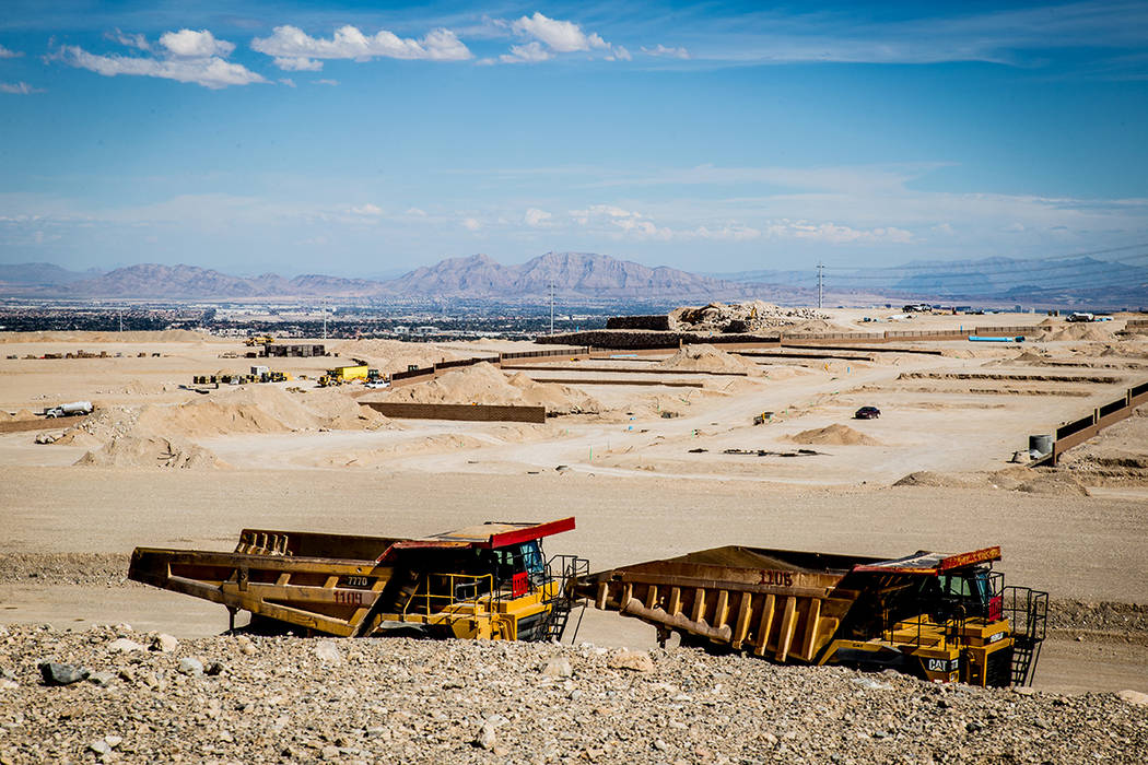 Pulte Homes is laying the groundwork on its Reverence project at the northern border of Summerlin. Construction crews are building model homes, expected to be ready in late spring. (TONYA HARVEY/L ...