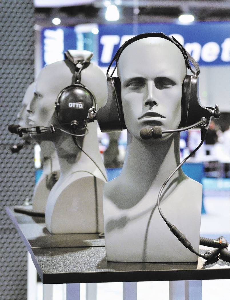 A display of Otto headsets is shown at the International Wireless Communications Expo in the Las Vegas Convention Center at 3150 Paradise Road in Las Vegas on Wednesday, March 29, 2017 (Bill Hughe ...