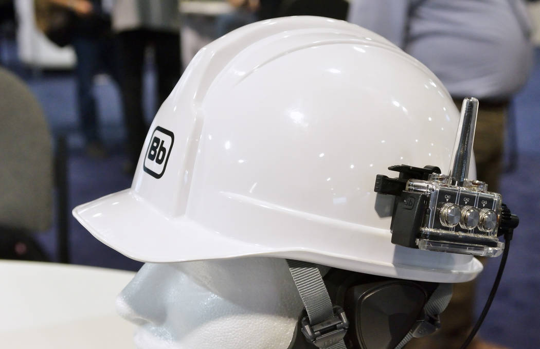 A wearable walkie talkie is shown on a helmet at the Bb Talkin' booth at the International Wireless Communications Expo in the Las Vegas Convention Center at 3150 Paradise Road in Las Vegas ...