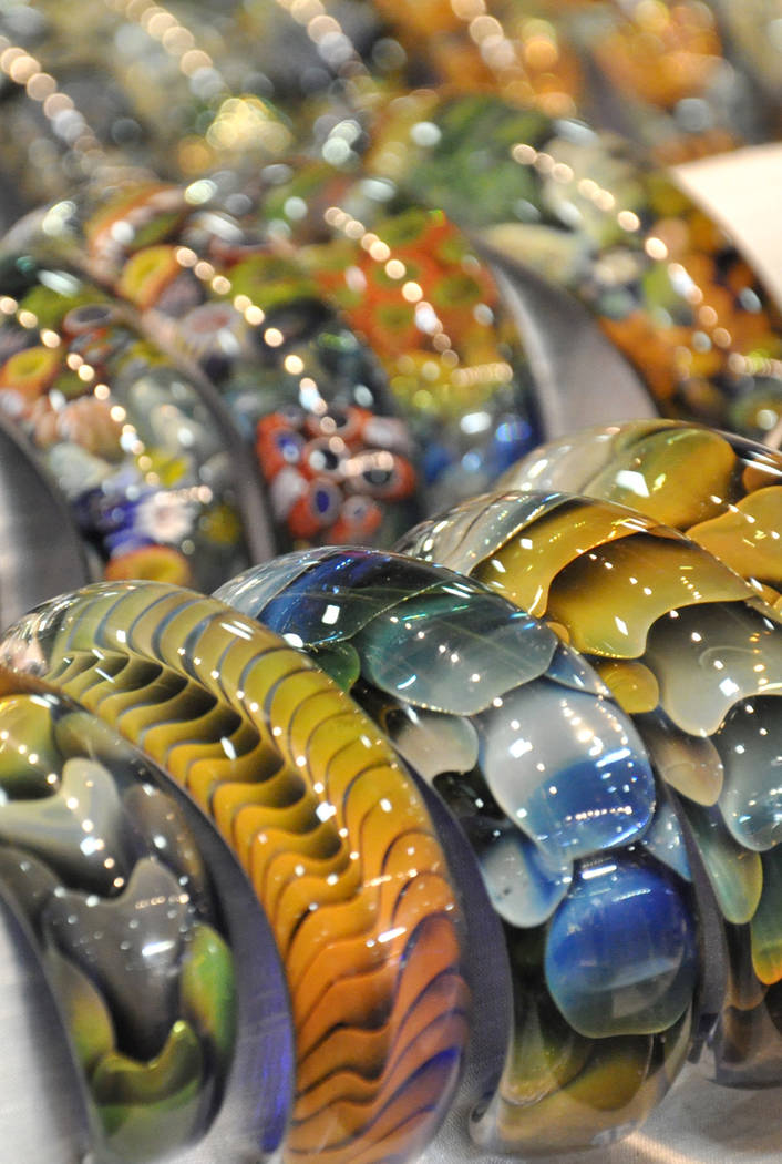 An array of bracelets by Kevin O'Grady were displayed at the Glass Craft and Bead Expo, Mar. 29-Apr. 2 at the South Point Hotel and Casino. The annual event is the largest glass craft exposition i ...
