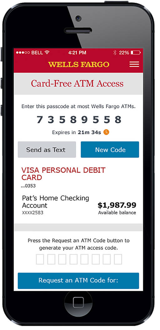 COURTESY Wells Fargo's aptly named One-Time Access Code technology allows customers to authenticate at an ATM using an 8-digit code and their debit or ATM card Personal Identification Number (PI ...