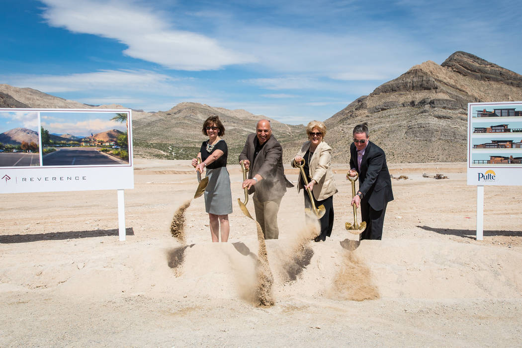 From left to right, Peggy Chandler, senior vice president, Summerlin, Howard Hughes Corp., Las Vegas City Councilman Stavros Anthony, Ward 4, Las Vegas Mayor Carolyn Goodman and Ryan Breen, divisi ...