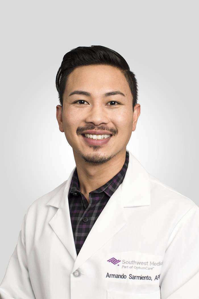 Southwest Medical Associates has Armando Sarmiento as a health care provider. Sarmiento joins Southwest Medical's Montecito Health Care Center, specializing in adult medicine.