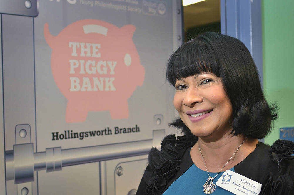 Sonia Anderson, founder and CEO of Andson, Inc., is shown in front of the Piggy Bank at Howard E. Hollingsworth Elementary School at 1776 E. Ogden Ave. in Las Vegas on Wednesday, April 5, 2017. Th ...