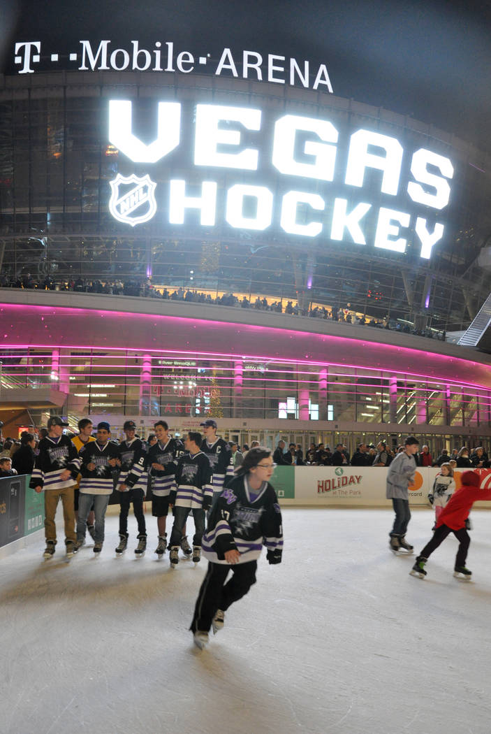 Buford Davis/Las Vegas Business Press A temporary ice rink was created for guests waiting the announcement of the Las Vegas National Hockey League franchise name during a Nov. 22 ceremony outside  ...
