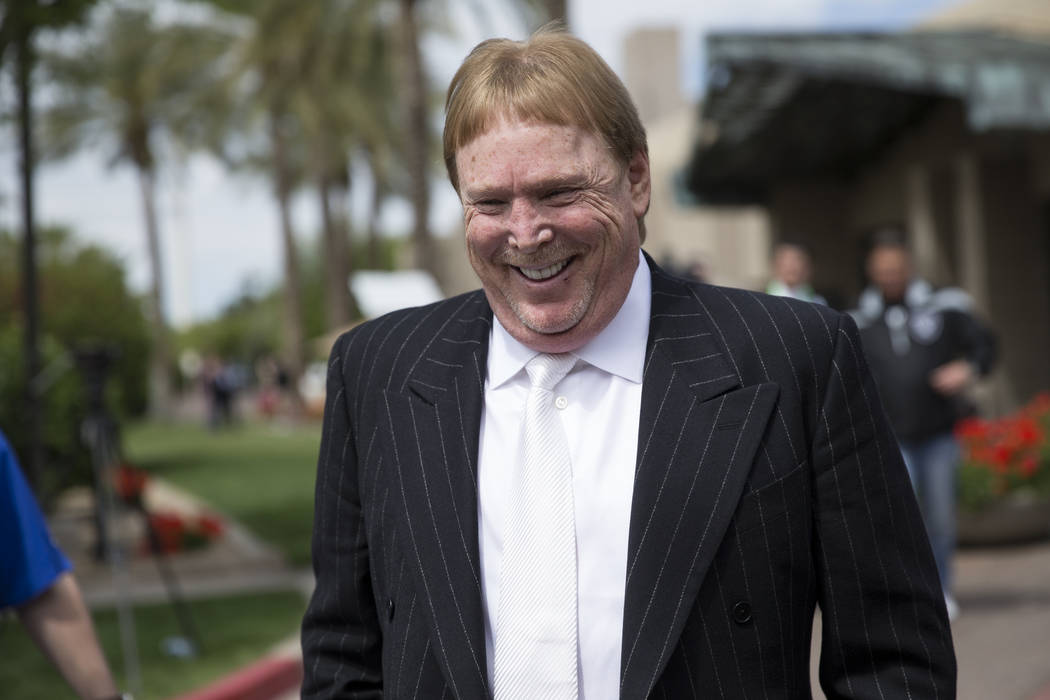 Erik Verduzco/Las Vegas Business Press Oakland Raiders owner Mark Davis after the NFL approved the Raiders move to Las Vegas with a 31-1 vote during Day Two of the NFL Annual Meeting on March 27 i ...