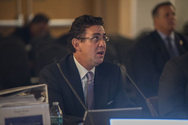 Principle analyst of Applied Analysis, Jeremy Aguero, speaks at the Southern Nevada Tourism Infrastructure Committee during a meeting about potential stadium sites at the UNLV Stan Fulton-Internat ...