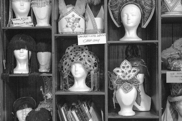 Headpieces line the shelfs at Williams Costume on Thursday, Feb. 16, 2017, in Las Vegas. (Bridget Bennett/Las Vegas Business Press)