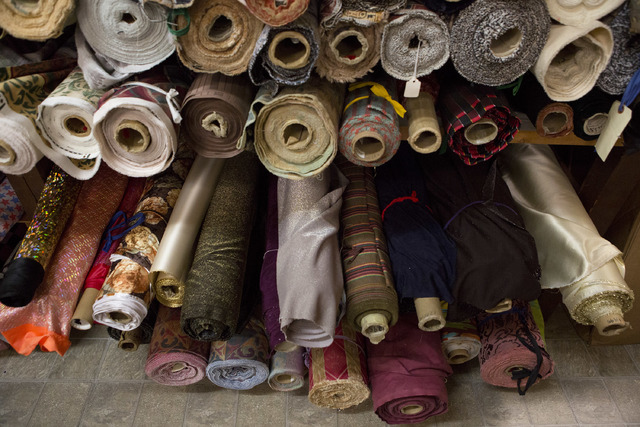 Rolls of fabrics fill the shelves at Williams Costume on Thursday, Feb. 16, 2017, in Las Vegas. (Bridget Bennett/Las Vegas Business Press)