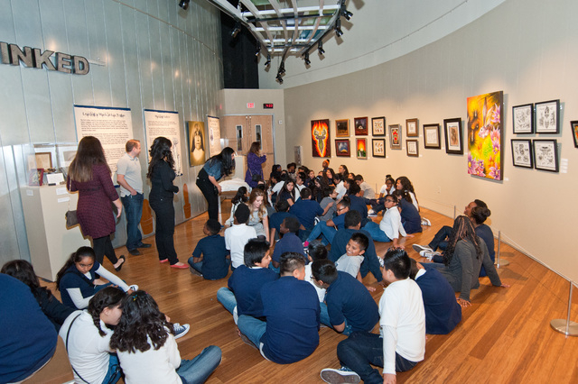 Students listen to a presentation at Springs Preserve last November, part of a celebration of rebranding the school as Core Academy Powered by the Rogers Foundation. (Courtesy Rogers Foundation)