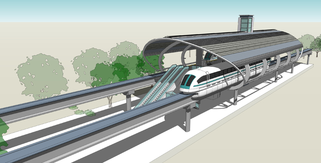 Artist's rendering of Orlando's planned maglev system, which is scheduled to break ground later this year. (Courtesy photo by Ricardo Plc)