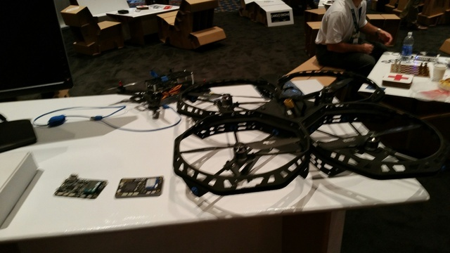 COURTESY Drones, such as these shown at the International Drone Conference & Exposition this month, may become more ubiquitious as a result of new FAA regulations.