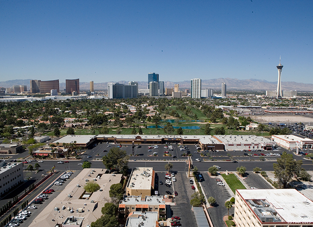 Jahan Moslehi paid $6.75 million for a 75,999-square-foot retail property at 2797 S. Maryland Parkway, inside Sunrise City Plaza, shown in foreground. (Courtesy, Colliers International)