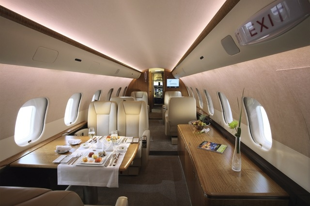 The interior of a JetSmarter private jet promises a luxurious and ride with catering options. (Courtesy)