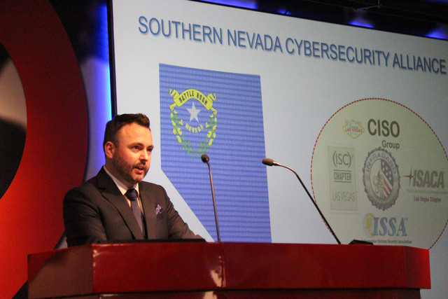 Jonathan Davies speaking at the launch of the Southern Nevada Cybersecurity Alliance at the Switch Innevation Center on Sept. 29. (Jeffrey Meehan/Las Vegas Business Press)