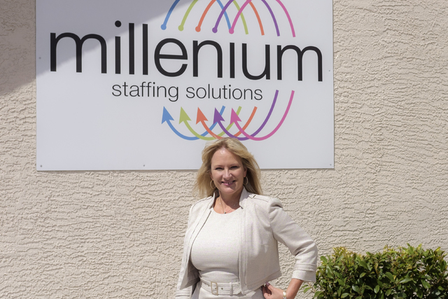 Jennifer DeHaven, CEO and president of Millenium Staffing Solutions, is shown outside of her office Aug. 18. (Ulf Buchholz/Las Vegas Business Press)