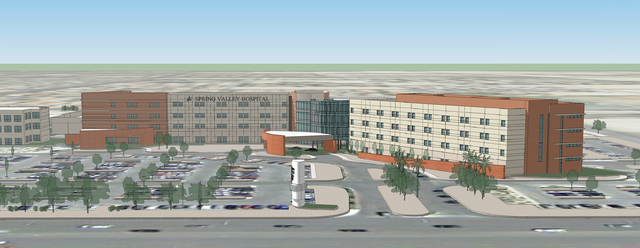 An artist's rendering shows Spring Valley Hospital after the four-story expansion is completed. (Courtesy)