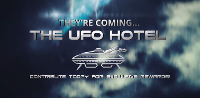 """A video promoting Luis Ramallo's planned alien-themed hotel in Baker, Calif., offers """"special rewards"""" for people who contribute to his project. (Courtesy Luis Ramallo/YouTube)"""