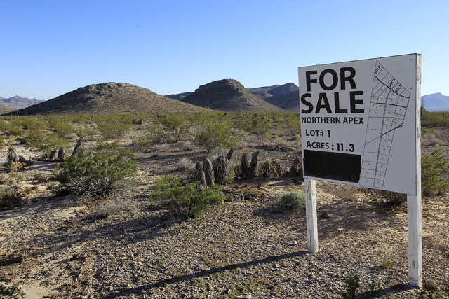 A for sale sign is seen near the Apex Industrial Park Thursday, Oct. 23, 2014. (Sam Morris/Las Vegas Review-Journal)