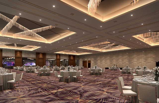 A rendering shows the design of the level 3 multi-use area as part of the convention center expansion at Aria. Courtesy