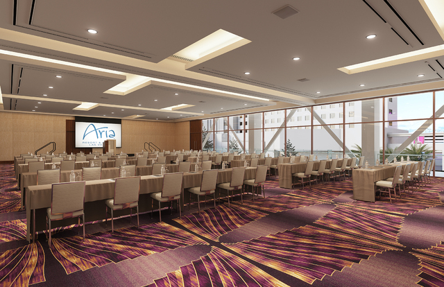 A rendering shows the design of the level 1 meeting area as part of the convention center expansion at Aria. Courtesy