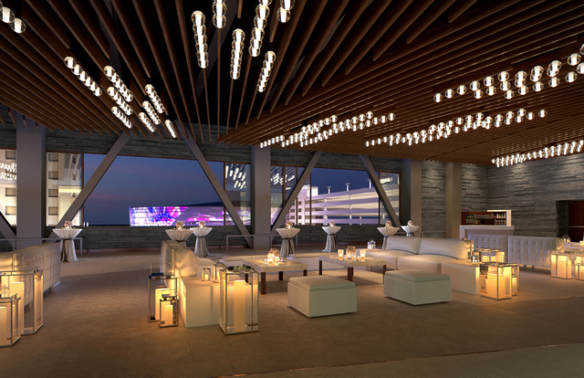 A rendering shows the design of the level 3 veranda as part of the convention center expansion at Aria. Courtesy