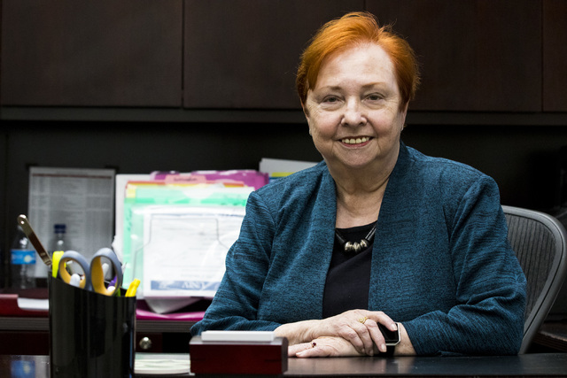 Dr. Barbara Atkinson, dean of the UNLV School of Medicine, poses for a photo in her office in the Flora Dungan Humanities building at UNLV in Las Vegas on Wednesday, Nov. 30, 2016. (Miranda Alam/L ...