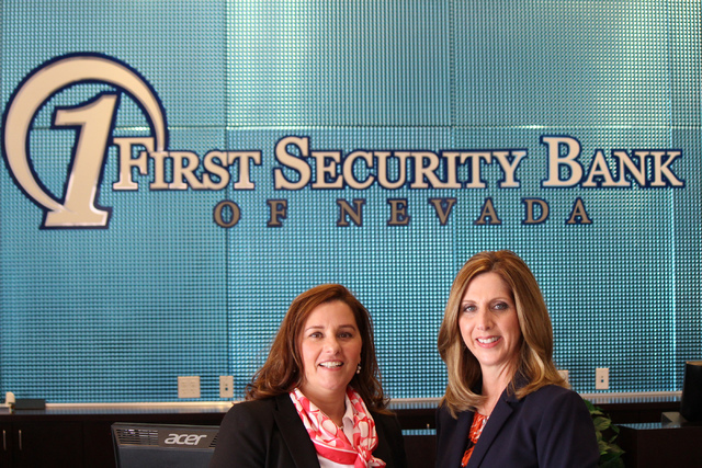Patricia Ochal, left, chief financial officer and executive vice president at First Security Bank of Nevada, and Carolyn Crockett, executive vice president and chief lending officer, know what wea ...