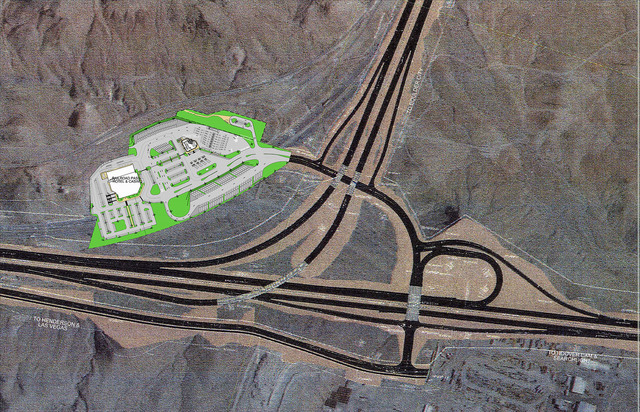 Courtesy This map shows how Railroad Pass will expand its parking lot, add a travel center and reconfigure access to the River Mountain Loop Trail once Interstate 11 is complete. The rendering als ...