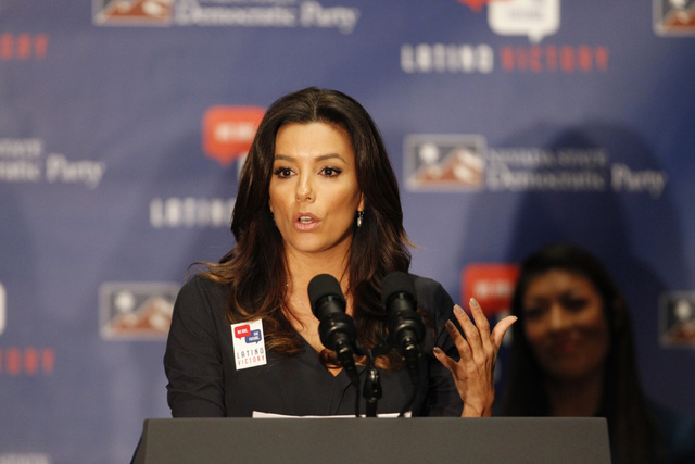 Actress Eva Longoria, co-founder of the Latino Victory PAC, speaks during a get out the vote event at the union hall for the Plumbers and Pipefitters Joint UA Local 525 in Las Vegas Saturday, Nov. ...