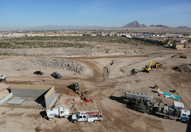 Construction is shown from the rooftop of Henderson Hospital at the 170-acre Union Village development east of U.S. 95 and Galleria Drive Friday, March 4, 2016, in Henderson. Completion of Henders ...