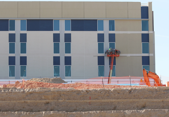 Construction is shown of Henderson Hospital at the 170-acre Union Village development east of U.S. 95 and Galleria Drive Friday, March 4, 2016, in Henderson. Completion of Henderson Hospital is ex ...