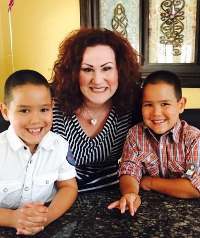 Johanna Blake with her twin sons, Grayson and Steele