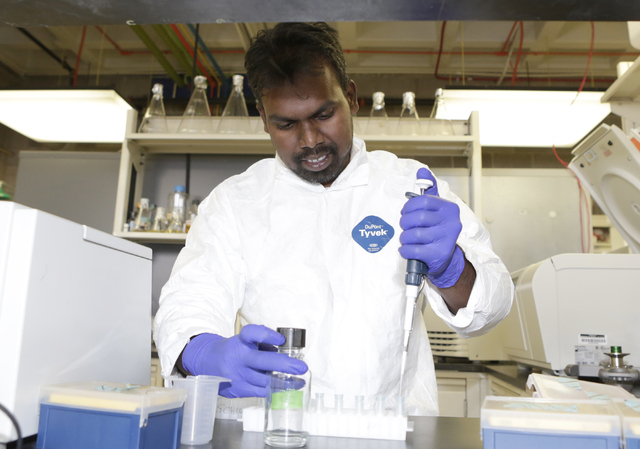 Dr. Ronald Benjamin Babu, postdoctoral researcher at UNLV, works at UNLV's School of Life Science lab on Friday, May 27, 2016. Bizuayehu Tesfaye/Southern Nevada Business of Medicine  Follow @bizut ...