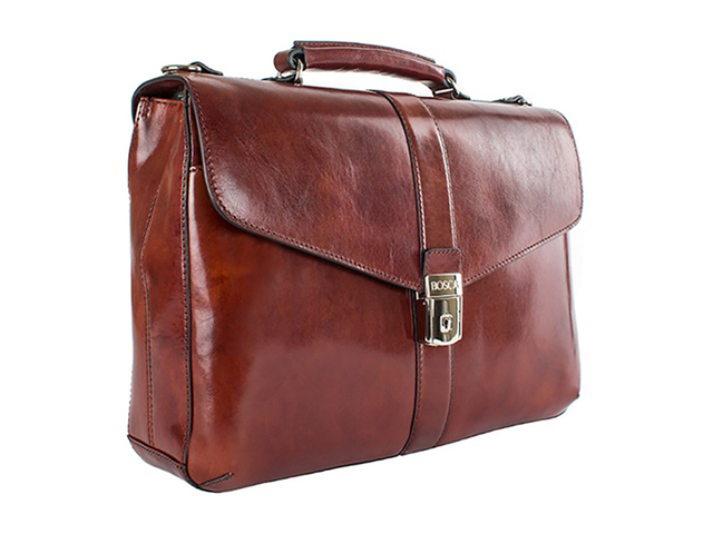 Bosca Old Leather Collection flapover brief, $635; available from bosca.com