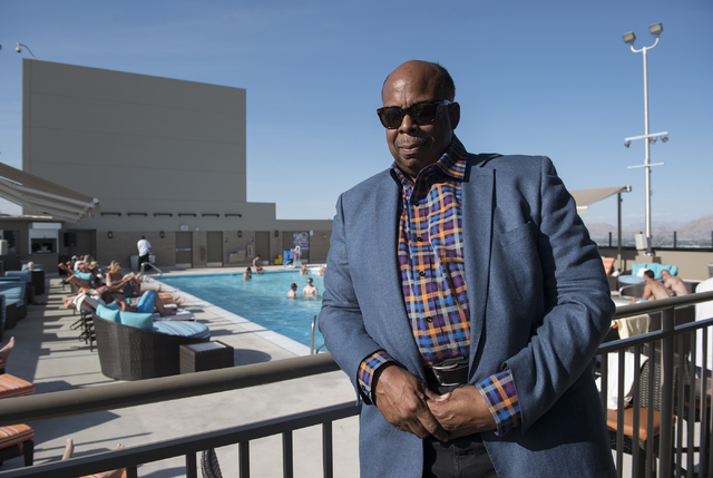Interior designer Brian Thornton poses for a photo at the Radius Pool inside the Stratosphere hotel-casino in Las Vegas on Friday, May 29, 2015. (Martin S. Fuentes/Las Vegas Review-Journal)
