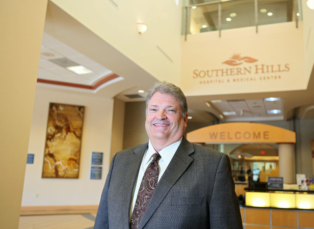 Kim Anderson, chief executive officer of Southern Hills Hospital, stands in the front entrance of Southern Hills Hospital Thursday, May 28, 2015, in Las Vegas. Anderson has been the CEO of Souther ...
