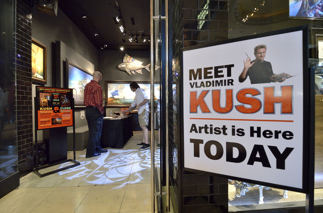 """The entrance to Kush Fine Art  is shown during a charity auction and promotional event featuring """"Jersey Boys"""" star Travis Cloer at the gallery in the Forum Shops at the Caesars Palace h ..."""